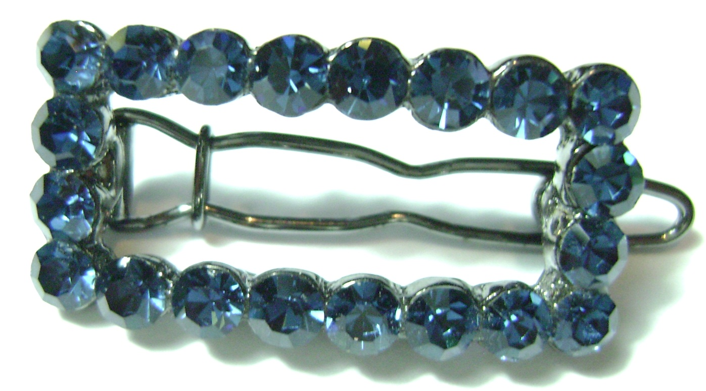 RHINESTONE BEADED HAIR CLIP NAVY BLUE