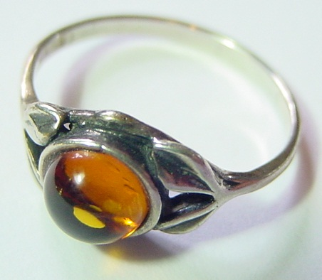 STERLING SILVER CHERRY AMBER FILIGREE RING